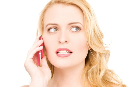 picture of happy woman with cell phone Stock Photo - 7346812