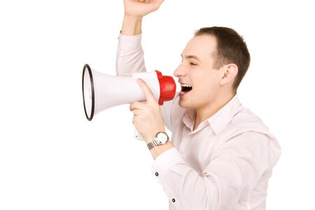 picture of businessman with megaphone over white Stock Photo - 7366270