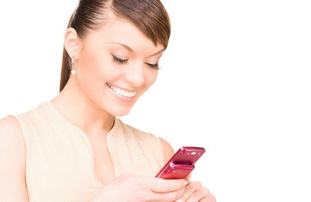 picture of happy woman with cell phone Stock Photo - 7366336