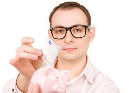 picture of businessman with piggy bank and money photo