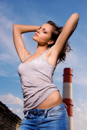 picture of young sexy woman in blue jeans Stock Photo - 7366511