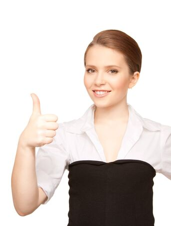 bright picture of lovely woman with thumbs up Stock Photo - 7372659