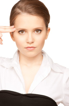 bright picture of unhappy woman showing suicide gesture Stock Photo - 7372697
