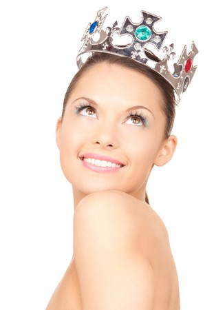 the majesty: picture of lovely woman in crown over white  Stock Photo