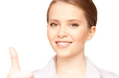 bright picture of lovely woman with thumbs up Stock Photo - 7372645