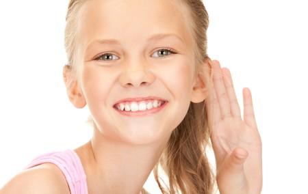 tattle: bright picture of lovely girl listening gossip
