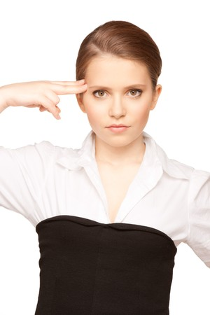 bright picture of unhappy woman showing suicide gesture Stock Photo - 7418866