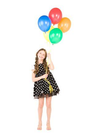 verjaardag ballonen: gelukkig meisje met kleurrijke ballonnen over white