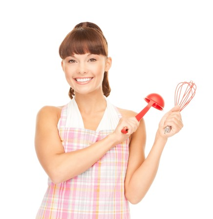 picture of beautiful housewife with red ladle  photo