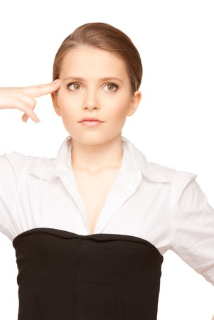 bright picture of unhappy woman showing suicide gesture Stock Photo - 7418855