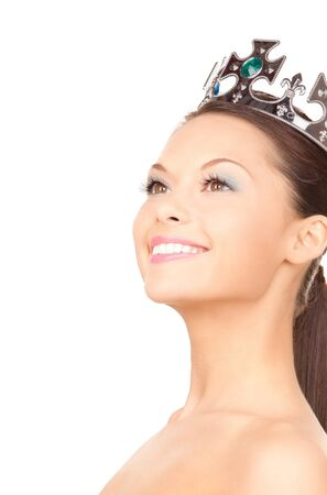 queen crown: picture of lovely woman in crown over white  Stock Photo