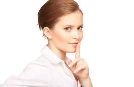bright picture of teenage girl with finger on lips Stock Photo - 7419005