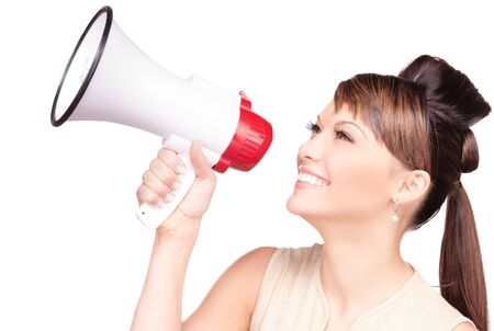 picture of woman with megaphone over white Stock Photo - 7419027