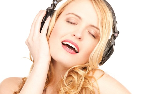 picture of happy woman in headphones over white photo