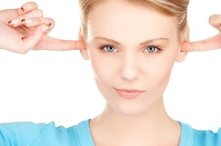 picture of woman with fingers in ears Stock Photo - 7437862