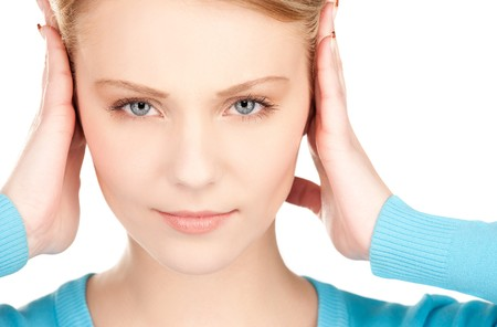 picture of woman with hands on ears Stock Photo - 7438150