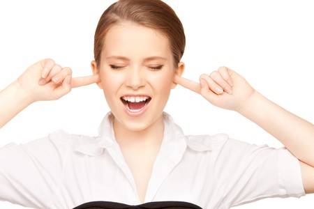 picture of woman with fingers in ears Stock Photo - 7521941