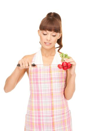 picture of beautiful housewife with big knife and radish Stock Photo - 7521942