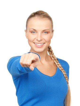 picking fingers: picture of attractive businesswoman pointing her finger