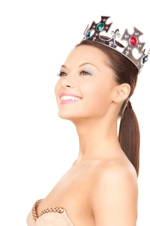 picture of lovely woman in crown over white  photo