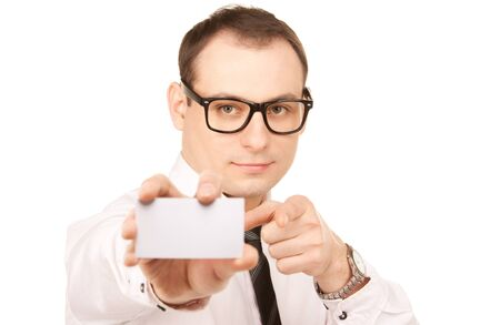 picture of businessman with business card over white  photo