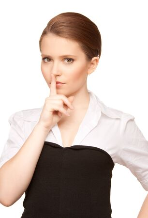 bright picture of teenage girl with finger on lips Stock Photo - 7493241