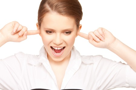 picture of woman with fingers in ears photo