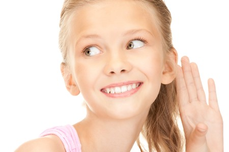 bright picture of lovely girl listening gossip  photo
