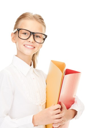 eager: picture of an elementary school student with folders