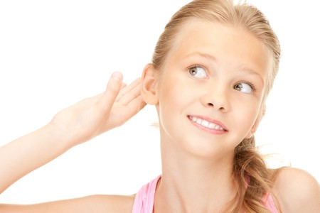 blab: bright picture of lovely girl listening gossip  Stock Photo