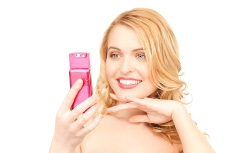 picture of happy woman with cell phone Stock Photo - 7522233
