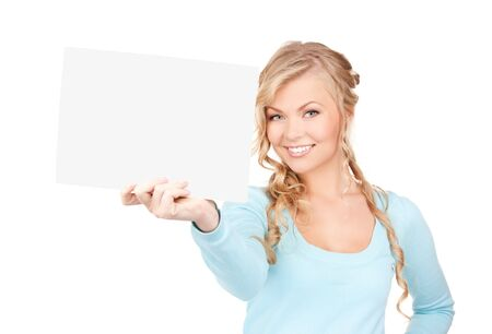 displaying: happy woman with blank board over white