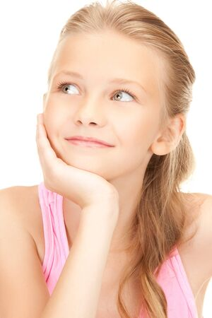 preteen girls: bright picture of lovely girl over white Stock Photo