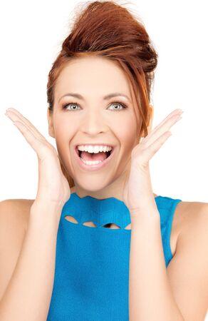 bright picture of surprised woman face over white Stock Photo - 7533493