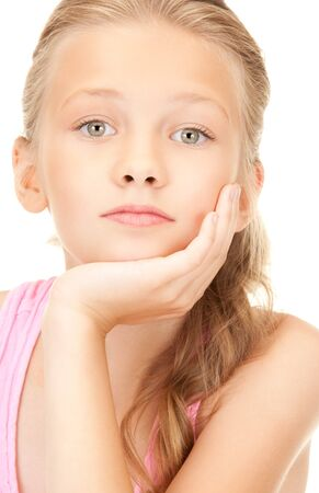 preteen girl: bright picture of lovely girl over white Stock Photo