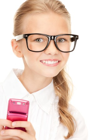 preteens girl: portrait of happy girl with cell phone