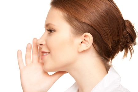 bruit: bright picture of teenage girl whispering gossip  Stock Photo