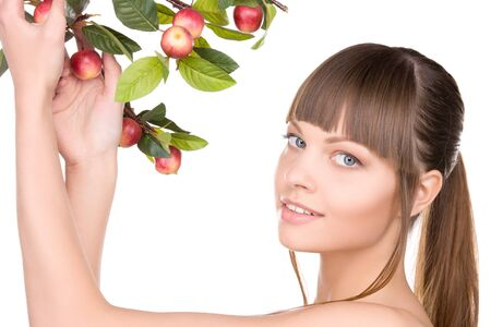 picture of lovely woman with apple twig Stock Photo - 7533839