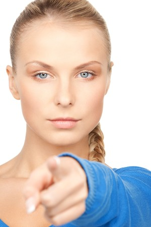 picture of attractive businesswoman pointing her finger photo