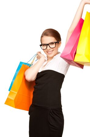 spec: happy woman with shopping bags over white