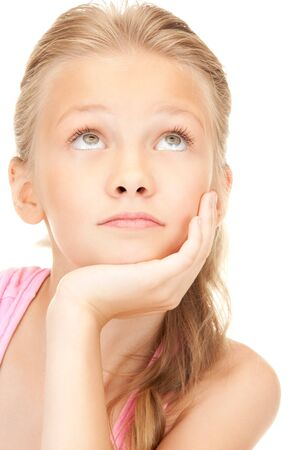beautiful preteen girl: bright picture of lovely girl over white Stock Photo