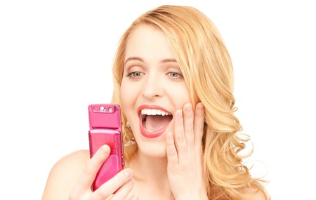 picture of happy woman with cell phone Stock Photo - 7555211