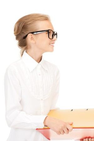 picture of an elementary school student with folders  photo