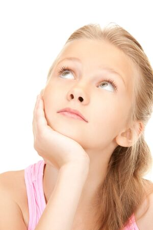 daydreaming: bright picture of lovely girl over white Stock Photo