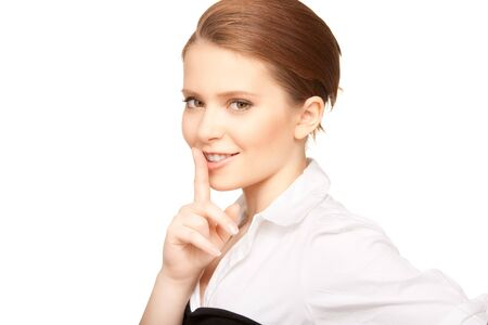 bright picture of teenage girl with finger on lips Stock Photo - 7555316