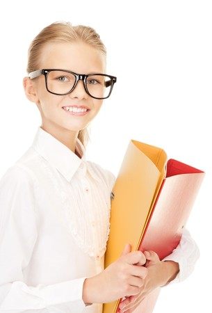smart girl: picture of an elementary school student with folders