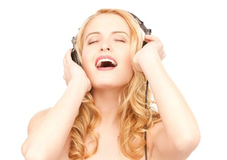 picture of happy woman in headphones over white Stock Photo - 7555393