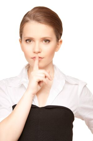 bright picture of teenage girl with finger on lips Stock Photo - 7595191