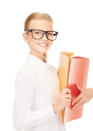 picture of an elementary school student with folders Stock Photo - 7595123