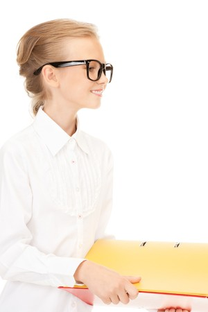 picture of an elementary school student with folders Stock Photo - 7595285